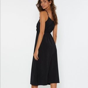 Nasty Gal Dresses - Black Tie Front Button Midi Dress